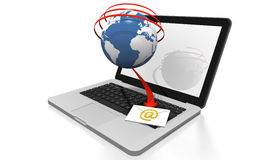 Modern laptop receiving email. Illustration of an email in envelope coming down from the world wide web Stock Photography