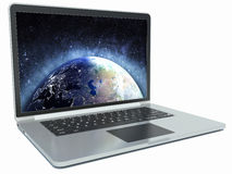 Modern laptop with the screen saver planet Royalty Free Stock Photo