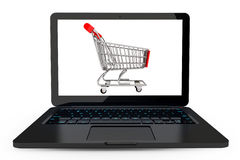 Modern laptop with Shopping Cart Stock Photo