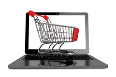Modern laptop with Shopping Cart Royalty Free Stock Photography