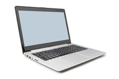 Modern laptop side and open. Stock Photos