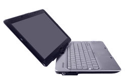 Modern  laptop with silver keyboard Stock Photos