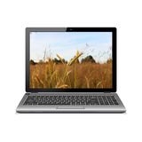 Modern laptop with wheat field wallpaper Stock Image