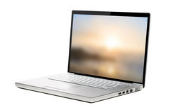Modern laptop on white Royalty Free Stock Photography