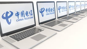 Modern laptops with China Telecom logo. Computer technology conceptual editorial 3D rendering Stock Photo