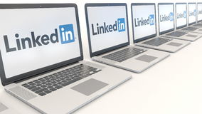 Modern laptops with LinkedIn logo. Computer technology conceptual editorial 3D rendering Stock Photos