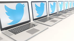 Modern laptops with Twitter, Inc. logo. Computer technology conceptual editorial 3D rendering Stock Images