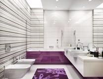Modern large bathroom interior design. Modern large white bathroom interior design stock images