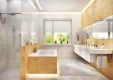 Modern large bathroom interior design. Modern large bathroom with window royalty free stock image
