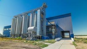 Modern large granary timelapse hyperlapse. Large metal silos. stock video footage