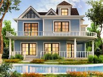 Modern house design with swimming pool. Modern large house design with swimming pool royalty free illustration
