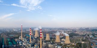 Modern large junction power plant panorama. Dezhou city ,shandong province,China Stock Photos