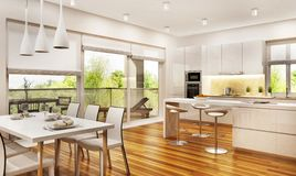Modern kitchen and living room. Modern large kitchen and living room stock image