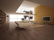 Modern large living-room. Royalty Free Stock Photos