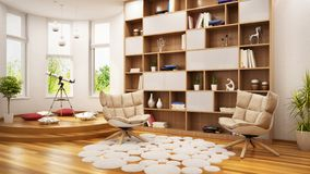 Modern room for rest and games for teens. Modern large room for rest and games for teens stock images