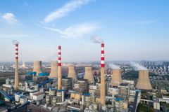 Modern large thermal power plant. Closeup ,dezhou city ,shandong province,China Royalty Free Stock Photography