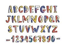 Modern latin font or english alphabet hand drawn on white background. Textured letters arranged in alphabetical order. And figures or digits decorated with stock illustration