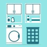Modern laundry with washing machine and washing powder. Royalty Free Stock Photos