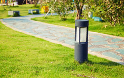 lawn lamp landscape lighting outdoor garden light  Royalty Free Stock Images