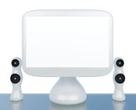 Modern LCD computer monitor with speaker. Modern, futuristic LCD computer monitor LCD display panel with speakers on glass table isolated on white Royalty Free Stock Images