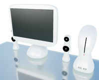 Modern LCD computer monitor with speaker. Modern, futuristic LCD computer monitor LCD display panel with speakers on glass table isolated on white Royalty Free Stock Photography