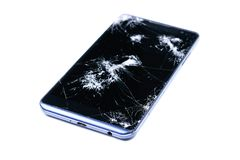 Modern LCD touch screen display mobile smartphone is cracked and broken after drop. Broken phone glass close up view, isolated. On white background for design stock image