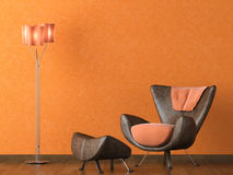 Modern leather couch on orange wall Royalty Free Stock Photography