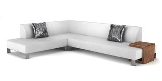 Modern leather couch with pillows isolated Stock Images