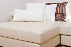 Modern leather couch sofa. Furniture Stock Photo