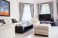 Modern and leather furnitures Royalty Free Stock Image