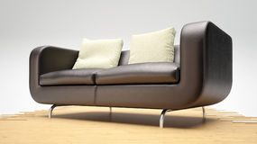 Modern leather sofa on wooden Stock Image