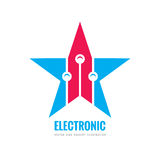 Modern lectronic technology - vector logo template concept illustration. Abstract star creative sign. Design graphic element.  Stock Photography