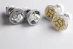 Modern LED bulbs with classic old bulbs Stock Images
