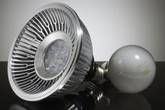 Modern LED and conventional light bulb, close-up Royalty Free Stock Photography