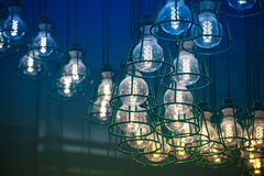 Modern LED lamps in metal lampshades Stock Photography