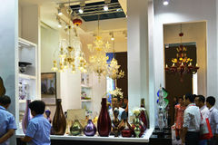 Modern  LED lighting shop,In  lighting Commercial exhibition, store Showcase in shopping Plaza,Commercial building,shoping Stock Photography