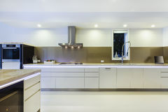 Modern LED lit kitchen Stock Photography