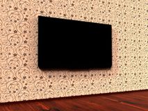 Modern LED TV on a wall stock image