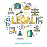 Modern Legal System - round line concept Royalty Free Stock Images