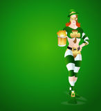 Modern Leprechaun Girl with Beer. St. Patrick's Day Modern Cartoon Leprechaun Girl Vector Illustration Royalty Free Stock Photography