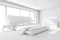 modern lera för sovrummet 3d framför royaltyfri illustrationer