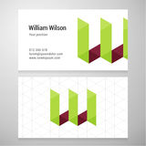 Modern letter W origami Business card template Royalty Free Stock Image
