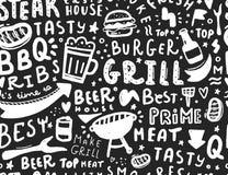 Modern lettering bbq seamless pattern. Barbeque food illustration for menu design.  royalty free illustration