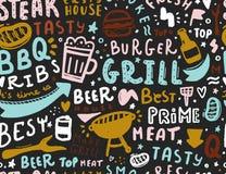 Modern lettering bbq seamless pattern. Barbeque food illustration for menu design.  vector illustration