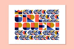 Modern lettering - girl power. Poster with feminist slogan. Modern lettering - girl power. Colorful poster with feminist slogan in flat style Stock Images