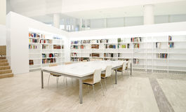 Modern library. Interior spaces. Modern and stylish library with table ans chairs Royalty Free Stock Photos
