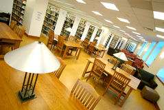 Modern Library. Study area of a modern college library Stock Photos