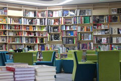 Modern library. With chairs and tables for reading in Bucharest, Romania Royalty Free Stock Photo