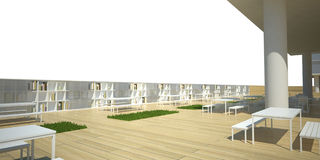 Modern library exterior 3d render. Modern outdoor library 3d render on white Stock Images