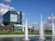 Modern library with fountains Stock Photo